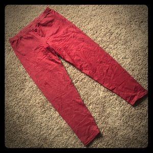 Red faux denim leggings